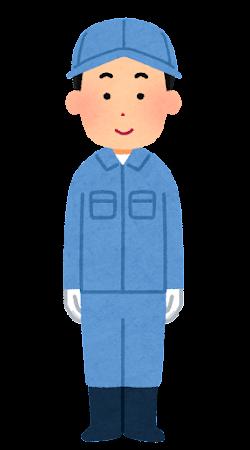 手袋・帽子を付けた作業員のイラスト(男性)