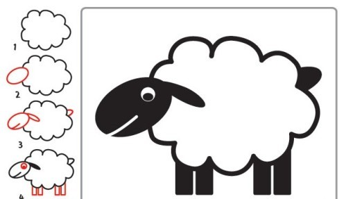 رسم خروف للاطفال