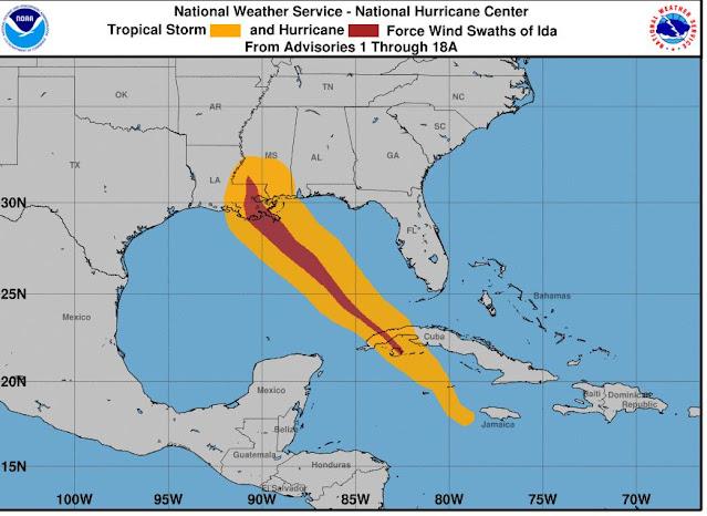 Hurricane Ida Wind History Map New Orelan