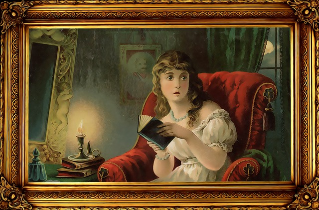 scared Victorian-y chick reading at night in an armchair