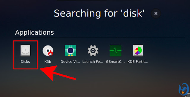 Launch Disks from the application menu
