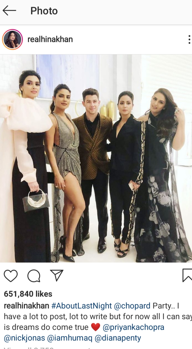 Hina Khan met Priyanka Chopra-Nick Jonas in the Cannes party