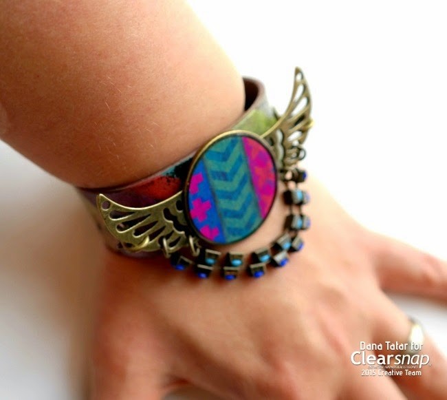Embossed Fiesta Print Leather Cuff Bracelet on Wrist by Dana Tatar