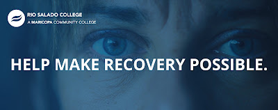 Poster for Rio Salado ASD program.  Image of a woman's eyes.  Text: Help Make Recovery Possible