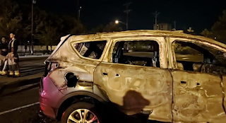 Arsonists, rioters attack, vandalize campus, burn security patrol car to a crisp