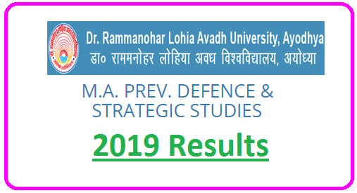 RMLAU MA Prev Defence and Strategic Studies Result 2019