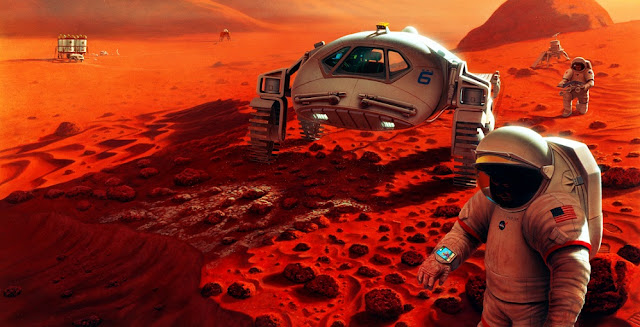 Artist's concept of a manned mission to Mars. Image Credit: NASA/Pat Rawlings, SAIC