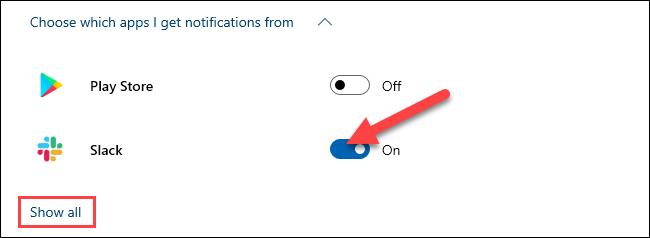 اختر التطبيقات التي يمكنها إرسال إشعارات