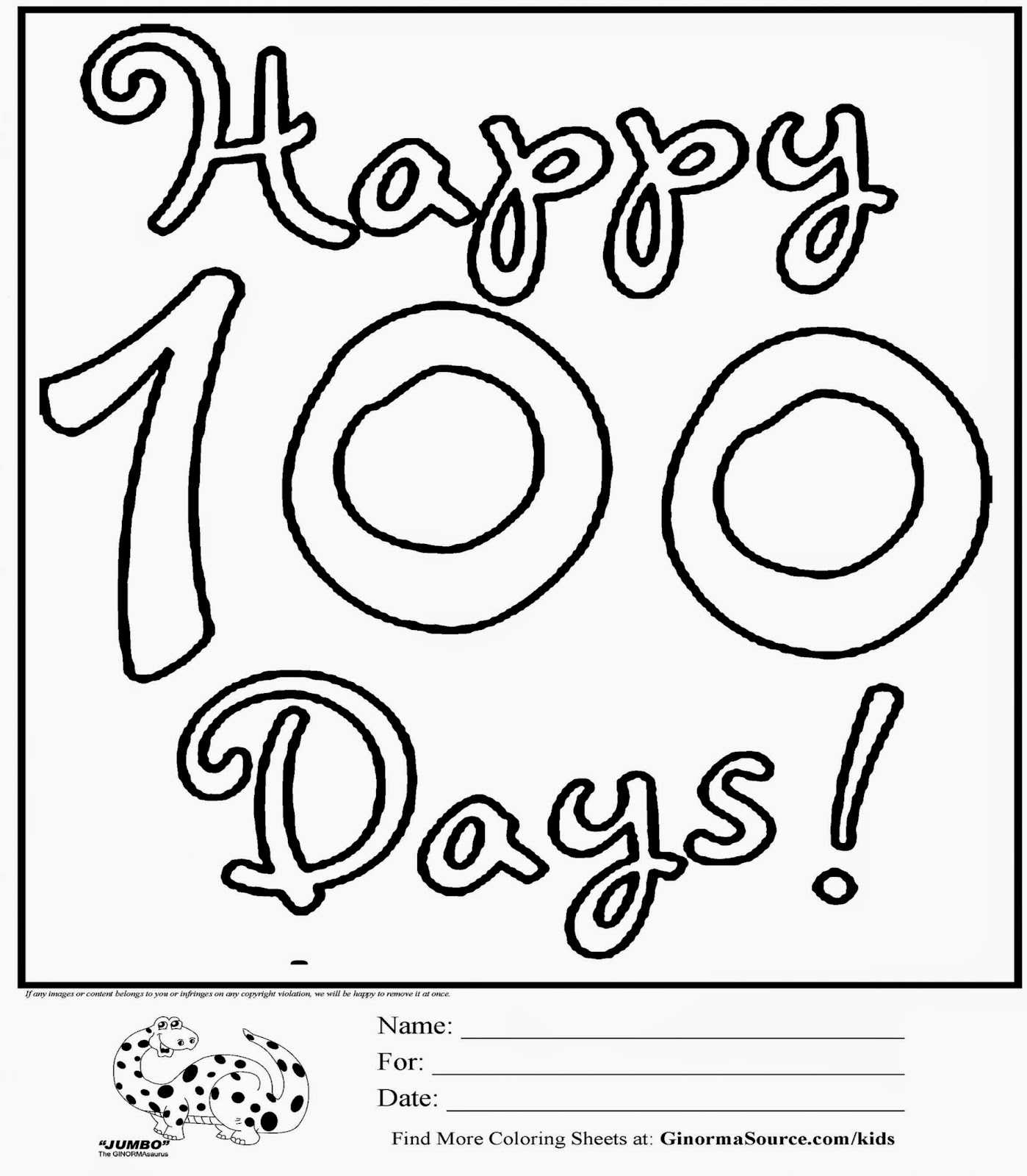 100th Day Of School Coloring Sheets