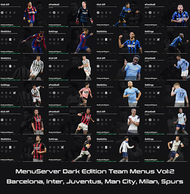 PES 2021 Dark Edition Team Menus V2 by Hawke