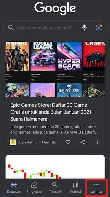 buka menu Lainnya aplikasi Google