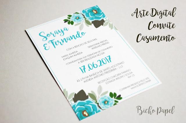 Arte Convite Digital Casamento Floral Azul