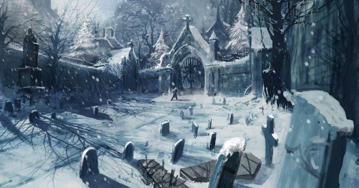 Selo Joestar Cemetery-art-snow-winter-3d