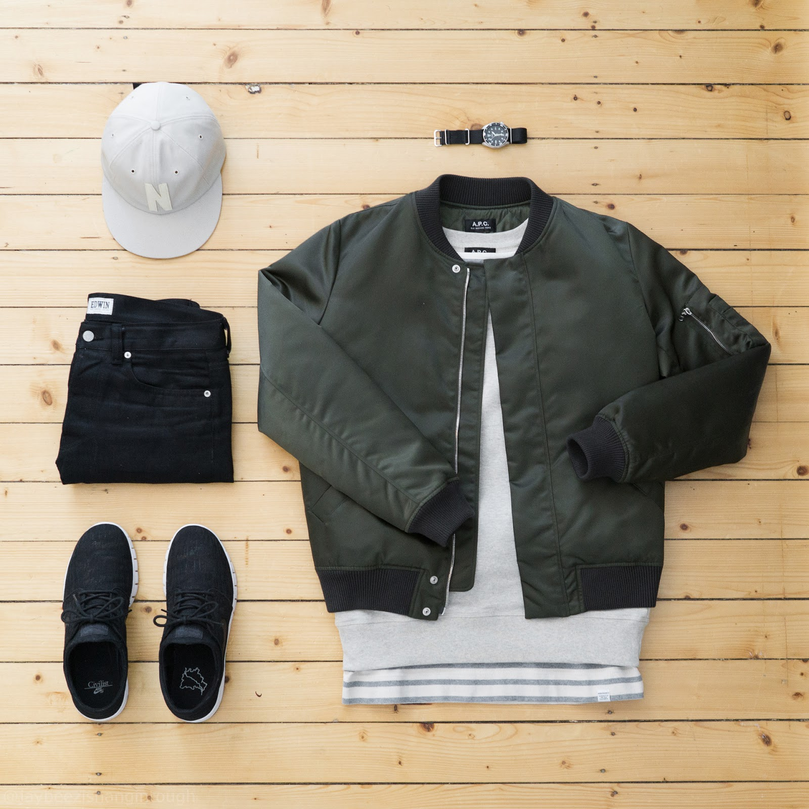 00046a36 #APC rudy bomber jacket | APC training crewneck | #NorseProjects james  compact tee | #Edwin ed80 white listed selvage denim | NorseProjects logo  6panel cap ...