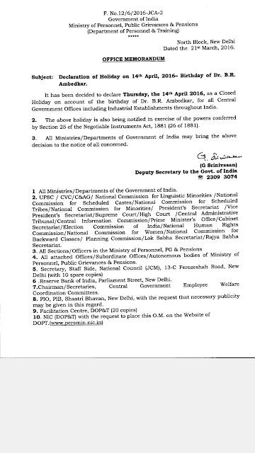 DECLARATION OF HOLIDAY ON 14 th APRIL,2016 BIRTHDAY OF DR B.R.AMBEDKAR SIR