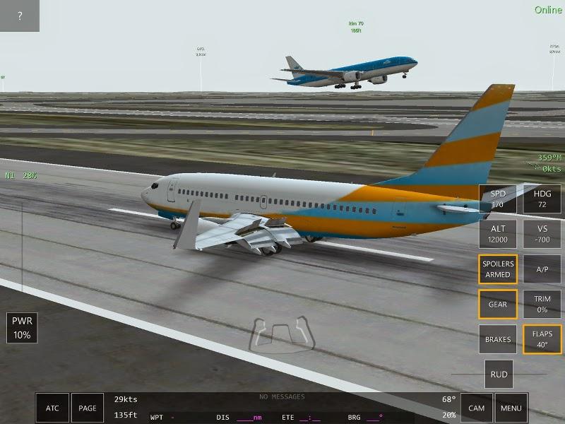 Boeing B737 Ecran du jeu multijoueurs Infinite Flight.