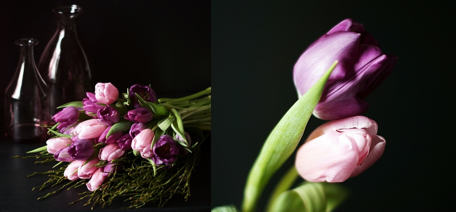 Blog + Fotografie by it's me! - fim.works - Collage lila- & rosafarbener Tulpen
