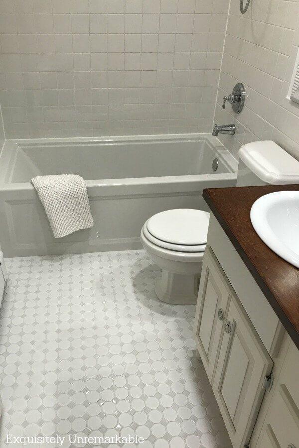 White Bathroom Mosaic Tile Floor