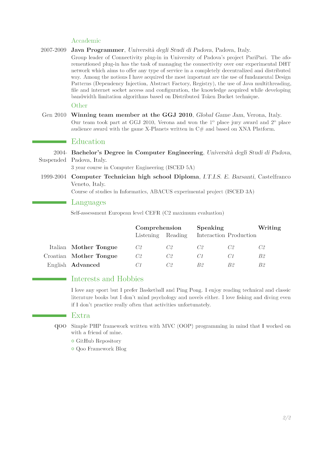 Java Swing Resume Ntrp Tech Talk Latex Cv Template Based On Moderncv Class