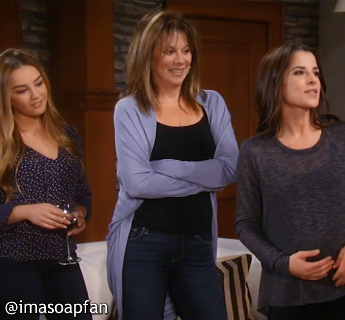 Alexis Davis, Nancy Lee Grahn, General Hospital, GH, Blue Cocoon Cardigan