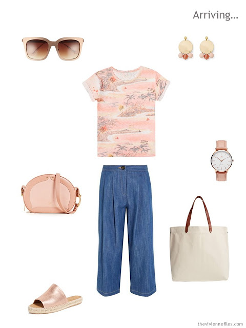 warm weather outfit in peach and denim