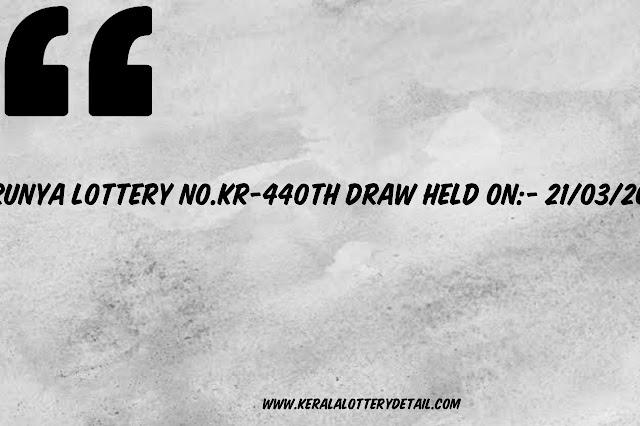 KARUNYA LOTTERY NO.KR-440th DRAW
