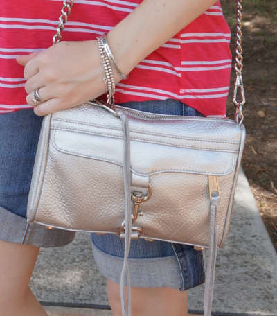 Rebecca Minkoff Metallic silver mini MAC bag worn on shoulder tiffany bracelet stack