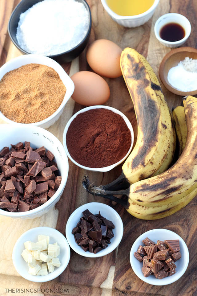 Ingredients For Making The Best Ever Double Chocolate Banana Muffins