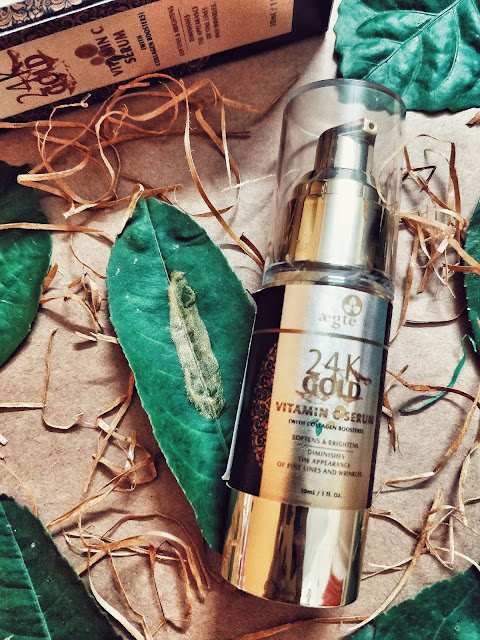 Aegte-gold-vitamin c-face-serum-skincare-review-sponsored-beauty-product-organic-Indian brand