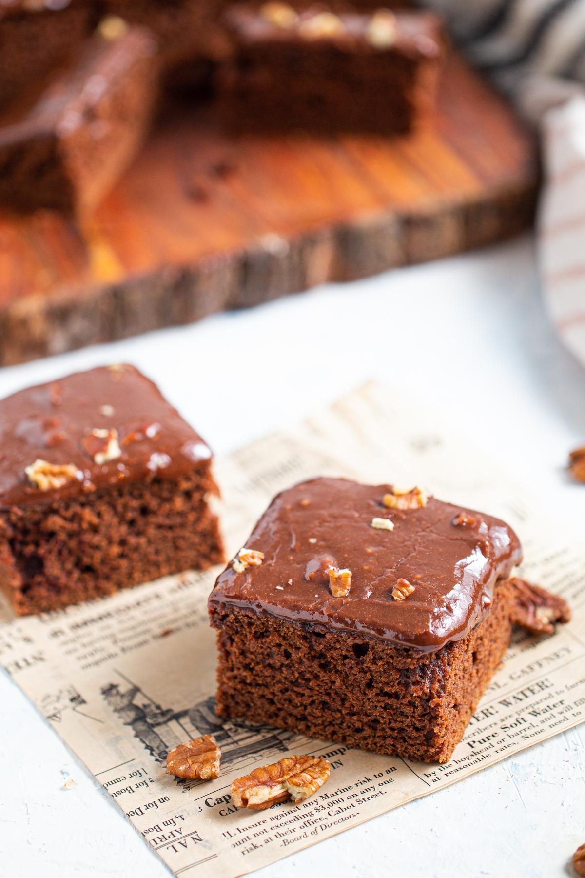 slice of chocolate cake on countertop