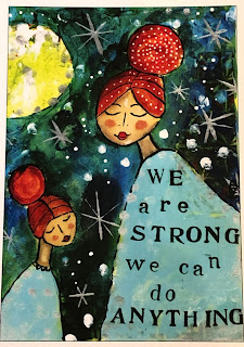 "A postcard that reads, ""We are strong.  We can do anything."""