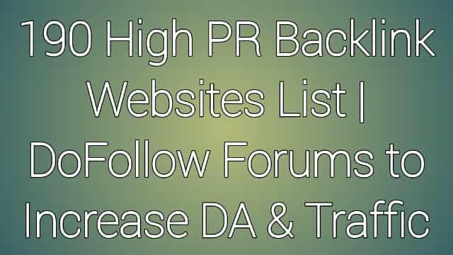 Backlink Websites List