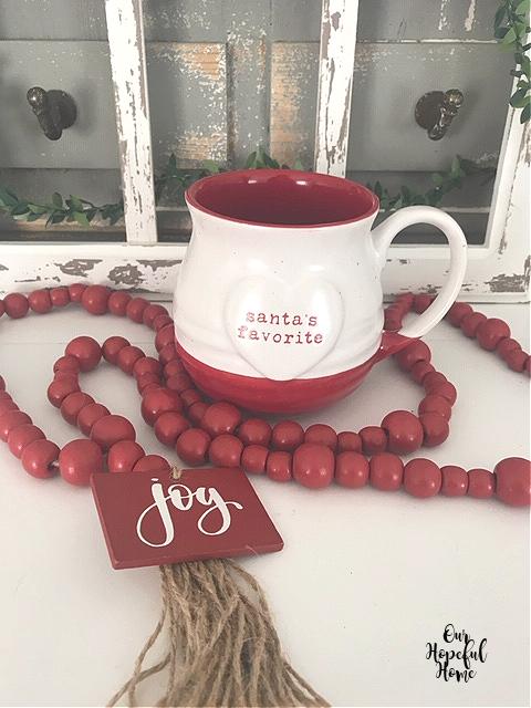red bead farmhouse Christmas garland joy tassel