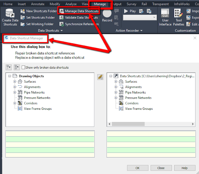 Data Shortcut Manager in Autodesk Civil 3D