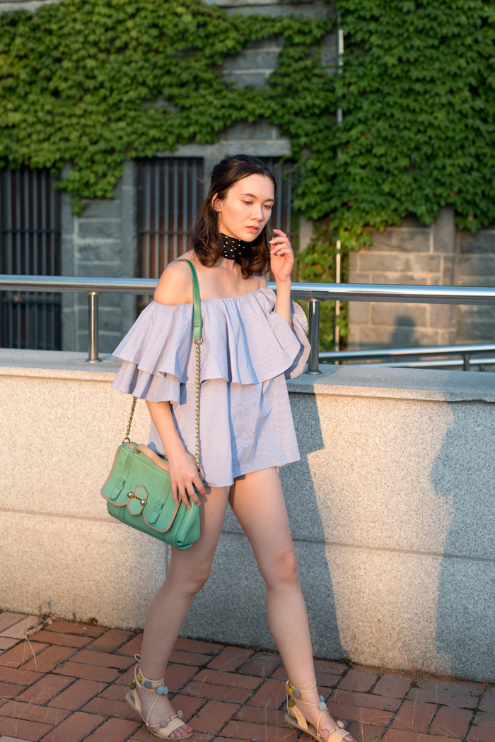 Ruffle top, off the shoulder, neckerchief, casualncouture, asian fashion, mlm top, shein review