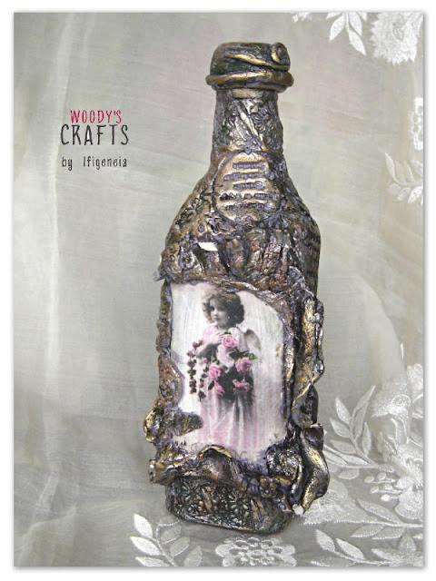 χειροποιητα διακοσμητικα μπουκαλια,διακοσμητικα μπουκαλια απο πηλο και δακτυλοπατινες,χειροποιητα επιτραπεζια διακοσμητικα μπουκαλια