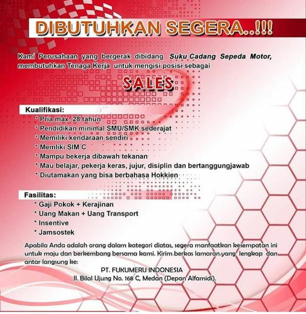 Loker tamatan SMA di Medan di PT Fukumeru Indonesia