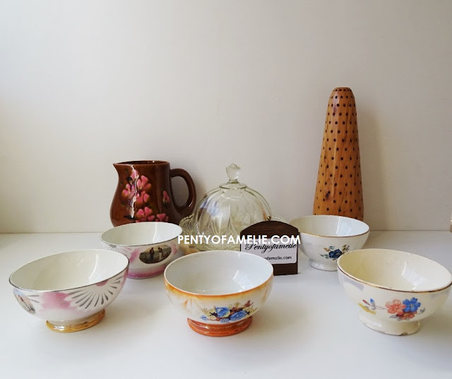 Vintage scarce Poet Laval Latte Bowls with spring floral motif, the Angelus by Millet.