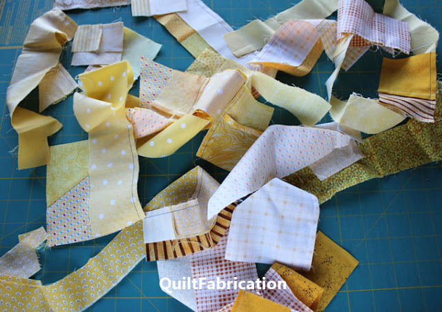 yellow scraps chain pieced together