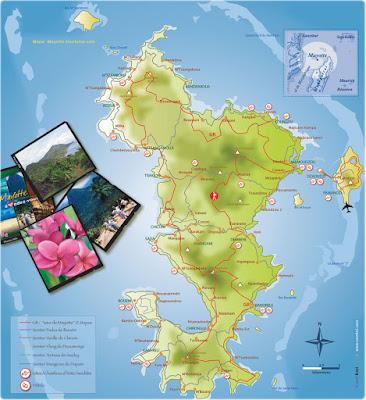 Carte routière de Mayotte et de ses régions.