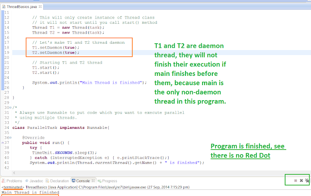 Daemon thread example in Java