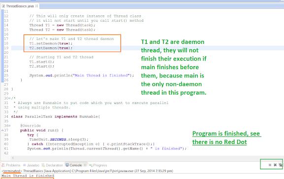 Daemon thread example in Java