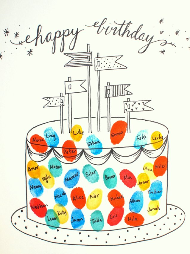 Free Printable Fingerprint Birthday Cake Card