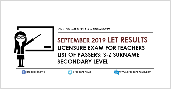 S-Z List of Passers: September 2019 LET board exam result