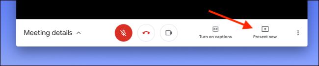 """انقر على """"التقديم الآن"""" في Google Meet لمشاركة شاشتك أو نافذتك"""