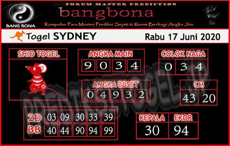 Prediksi Sydney Rabu 17 Juni 2020 - Bang Bona
