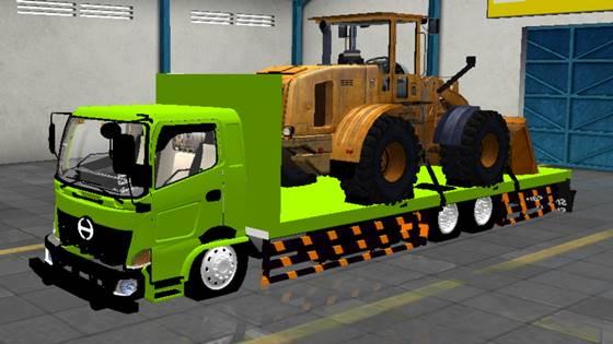 Mod Truck Hino 500 Flatbed Bulldozer