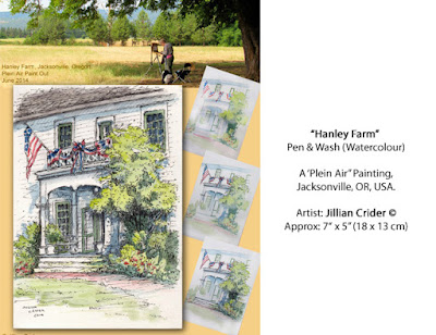 Hanley farm, jacksonville, oregon, pen and wash, ink, watercolour, plein air,  artist, jillian crider, artist jillian,  historic building,  sketch, class, teach, learn,