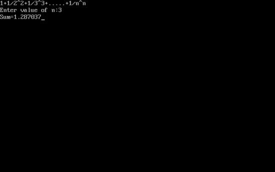 C++ program to find sum of series 1+1/2^2+1/3^3+.....+1/n^n