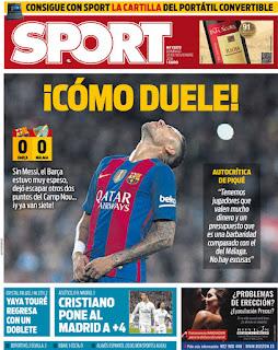 portada Sport prensa deportiva derbi 0-3 Real Madrid 20 11 2016